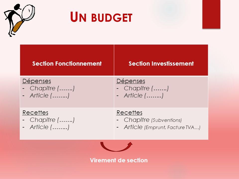 Section FonctionnementSection Investissement Dépenses -Chapitre (…….) -Article (……..) Dépenses -Chapitre (…….) -Article (……..) Recettes -Chapitre (…….