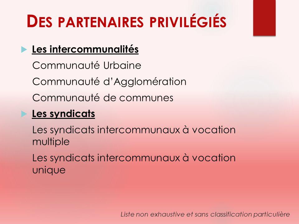 D ES PARTENAIRES PRIVILÉGIÉS Les intercommunalités Communauté Urbaine Communauté dAgglomération Communauté de communes Les syndicats Les syndicats int