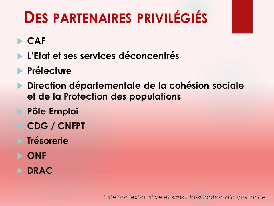 D ES PARTENAIRES PRIVILÉGIÉS CAF LEtat et ses services déconcentrés Préfecture Direction départementale de la cohésion sociale et de la Protection des