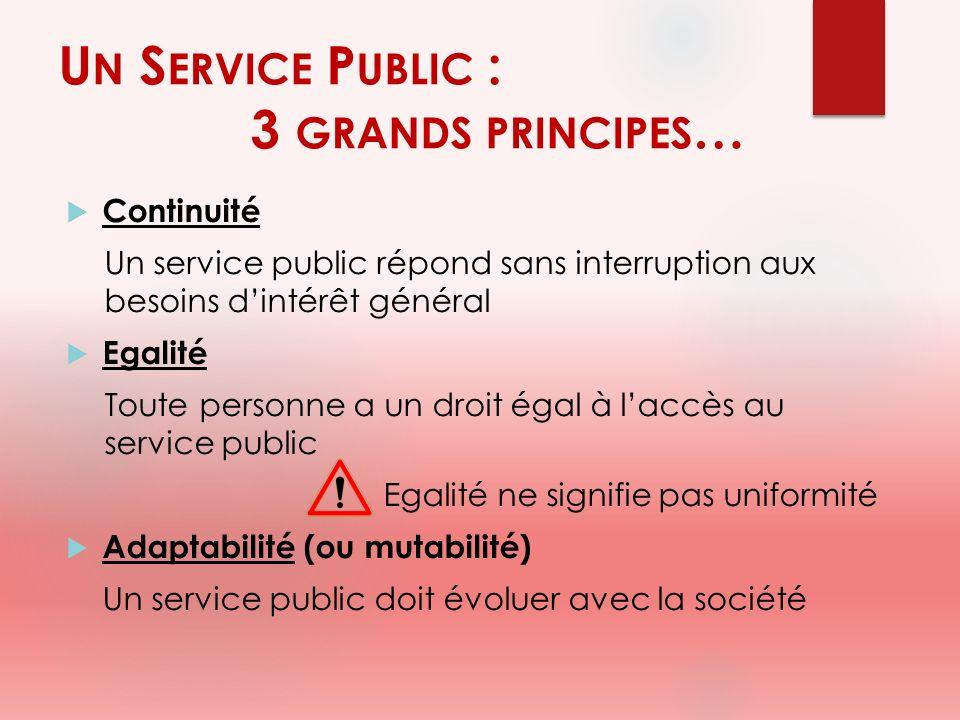U N S ERVICE P UBLIC : 3 GRANDS PRINCIPES … Continuité Un service public répond sans interruption aux besoins dintérêt général Egalité Toute personne