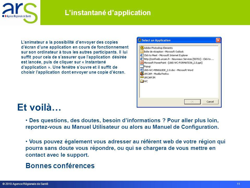 © 2010 Agence Régionale de Santé 11 Et voilà… Des questions, des doutes, besoin dinformations .