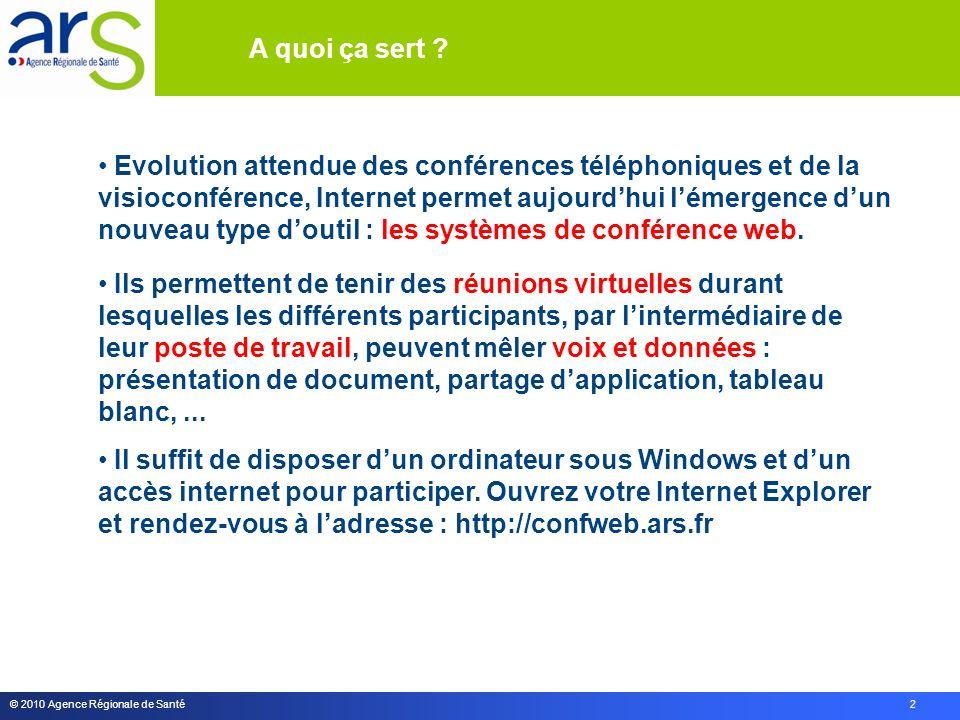 © 2010 Agence Régionale de Santé 2 Evolution attendue des conférences téléphoniques et de la visioconférence, Internet permet aujourdhui lémergence dun nouveau type doutil : les systèmes de conférence web.