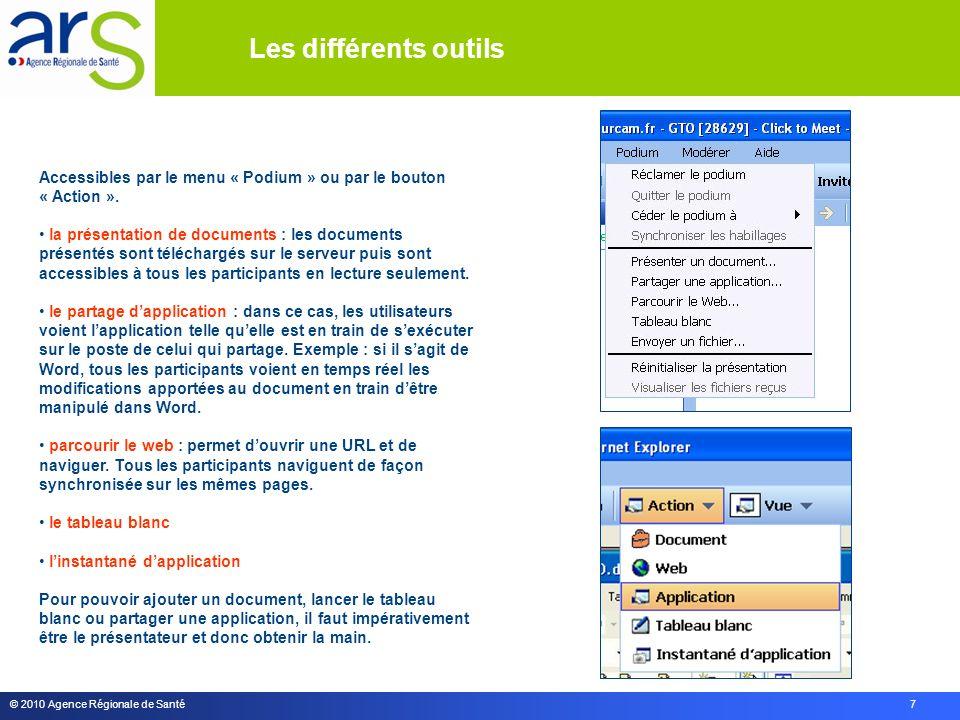 © 2010 Agence Régionale de Santé 7 Accessibles par le menu « Podium » ou par le bouton « Action ».