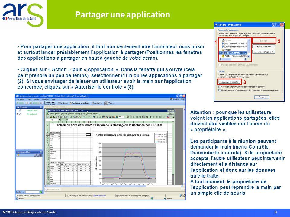 © 2010 Agence Régionale de Santé 9 Attention : pour que les utilisateurs voient les applications partagées, elles doivent être visibles sur lécran du « propriétaire ».