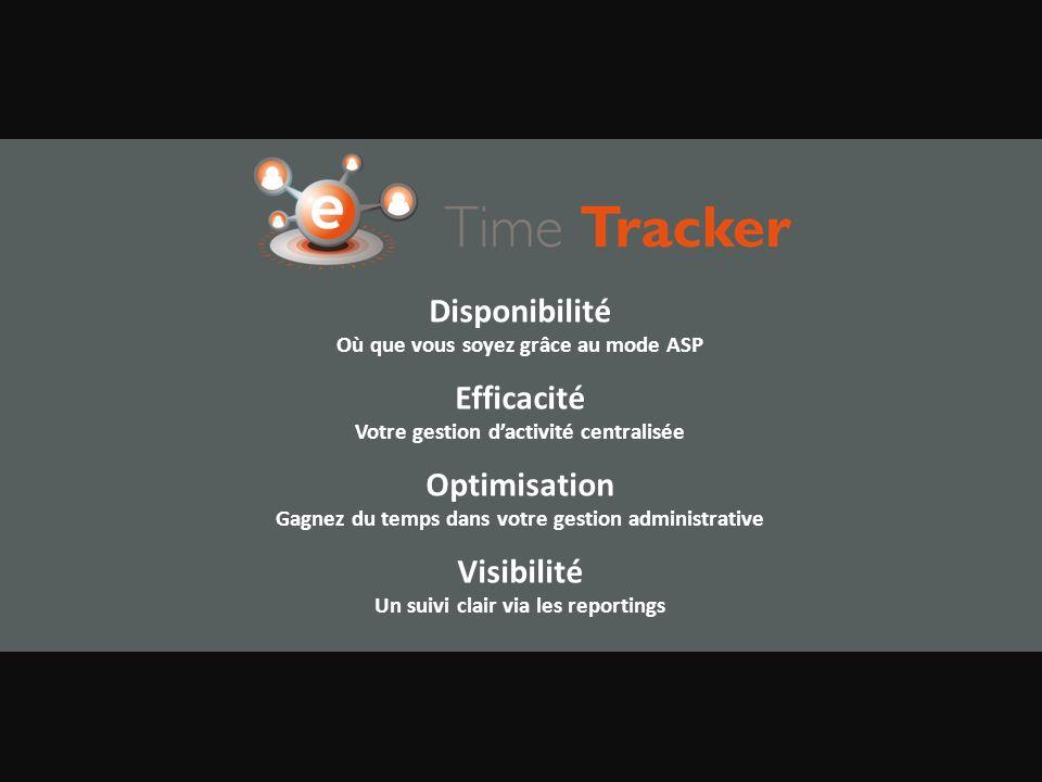Disponibilité Où que vous soyez grâce au mode ASP Efficacité Votre gestion dactivité centralisée Optimisation Gagnez du temps dans votre gestion administrative Visibilité Un suivi clair via les reportings
