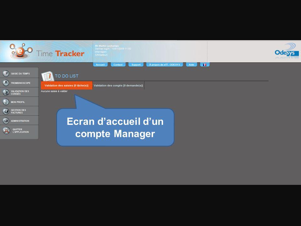 Ecran daccueil dun compte Manager