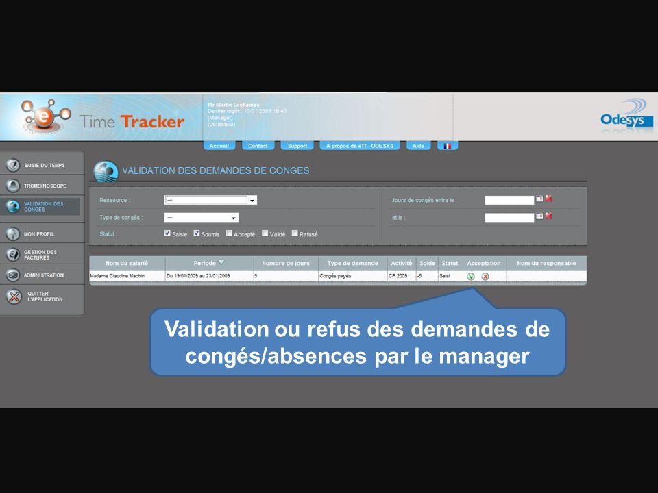 Validation ou refus des demandes de congés/absences par le manager