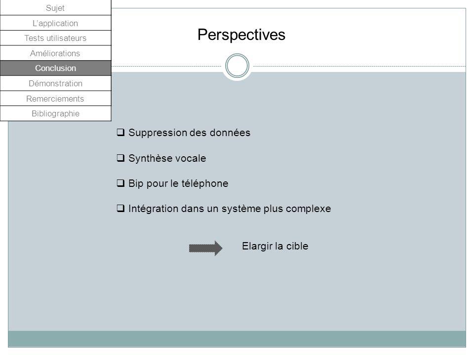 Sujet Lapplication Tests utilisateurs Améliorations Conclusion Démonstrations Remerciement Perspectives Suppression des données Synthèse vocale Bip po