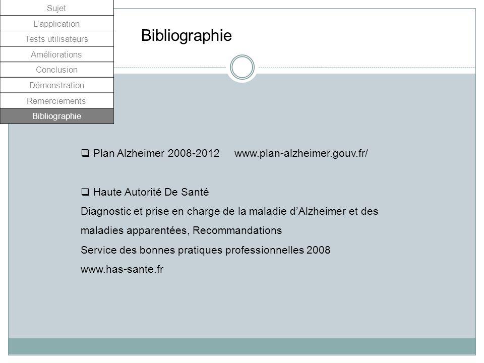 Bibliographie Plan Alzheimer 2008-2012 www.plan-alzheimer.gouv.fr/ Haute Autorité De Santé Diagnostic et prise en charge de la maladie dAlzheimer et d
