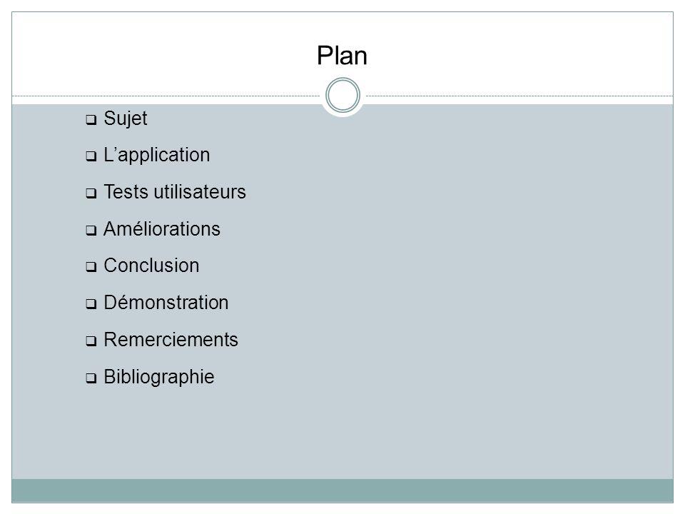 Plan Sujet Lapplication Tests utilisateurs Améliorations Conclusion Démonstration Remerciements Bibliographie