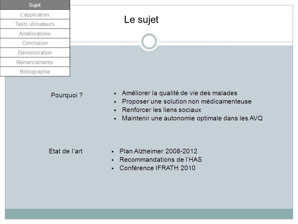 Pourquoi ? Plan Alzheimer 2008-2012 Recommandations de lHAS Conférence IFRATH 2010 Sujet Lapplication Tests utilisateurs Améliorations Conclusion Démo