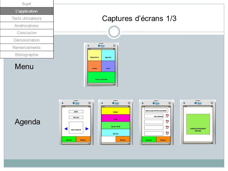 Répertoire Carte didentité Captures décrans 2/3 Sujet Lapplication Tests utilisateurs Améliorations Conclusion Démonstration Remerciements Bibliographie