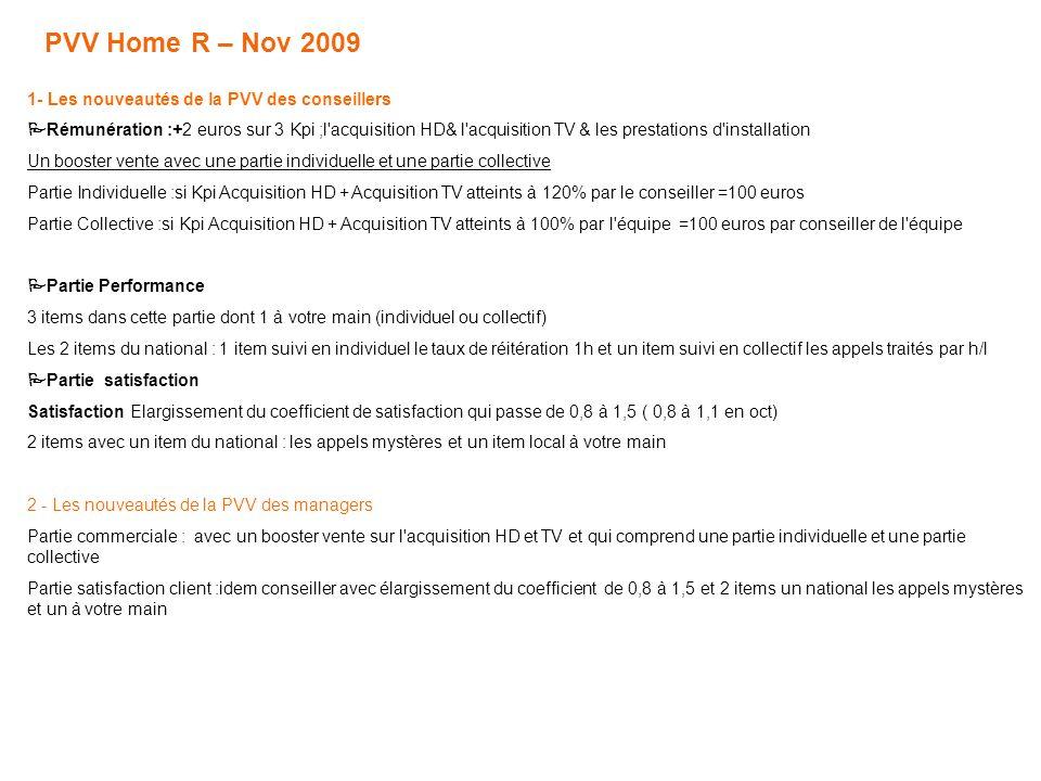 PVV Home R – Nov 2009 1- Les nouveautés de la PVV des conseillers Rémunération :+2 euros sur 3 Kpi ;l acquisition HD& l acquisition TV & les prestations d installation Un booster vente avec une partie individuelle et une partie collective Partie Individuelle :si Kpi Acquisition HD + Acquisition TV atteints à 120% par le conseiller =100 euros Partie Collective :si Kpi Acquisition HD + Acquisition TV atteints à 100% par l équipe =100 euros par conseiller de l équipe Partie Performance 3 items dans cette partie dont 1 à votre main (individuel ou collectif) Les 2 items du national : 1 item suivi en individuel le taux de réitération 1h et un item suivi en collectif les appels traités par h/l Partie satisfaction Satisfaction Elargissement du coefficient de satisfaction qui passe de 0,8 à 1,5 ( 0,8 à 1,1 en oct) 2 items avec un item du national : les appels mystères et un item local à votre main 2 - Les nouveautés de la PVV des managers Partie commerciale : avec un booster vente sur l acquisition HD et TV et qui comprend une partie individuelle et une partie collective Partie satisfaction client :idem conseiller avec élargissement du coefficient de 0,8 à 1,5 et 2 items un national les appels mystères et un à votre main