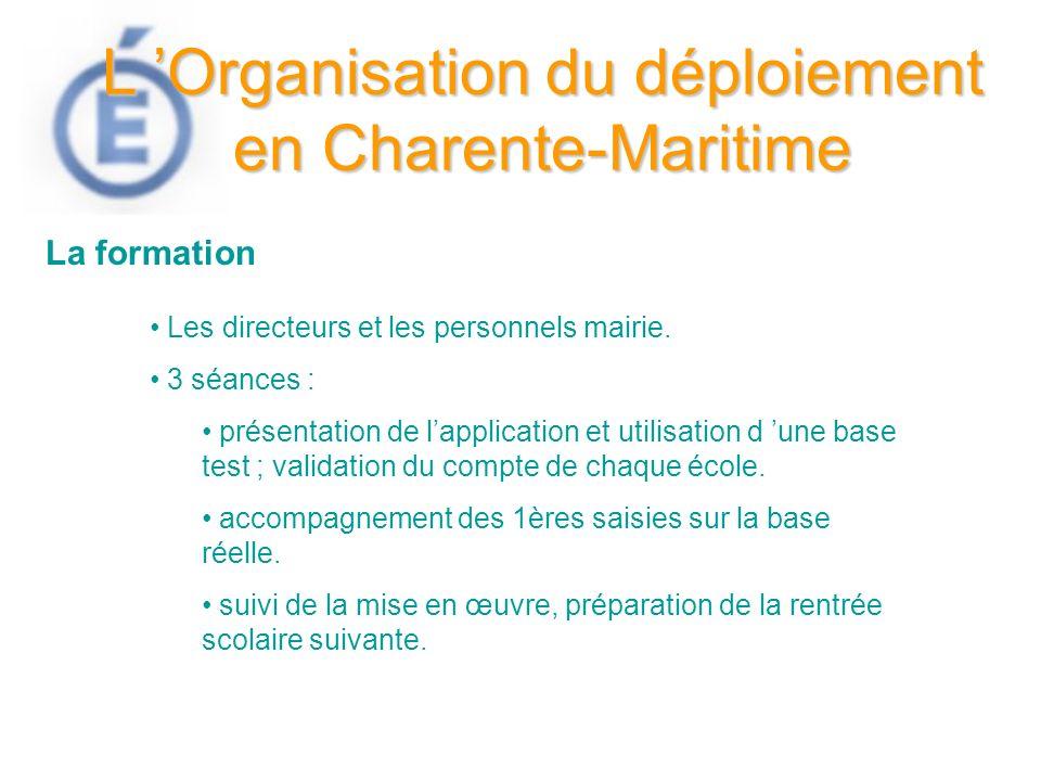 L Organisation du déploiement en Charente-Maritime La formation Les directeurs et les personnels mairie. 3 séances : présentation de lapplication et u