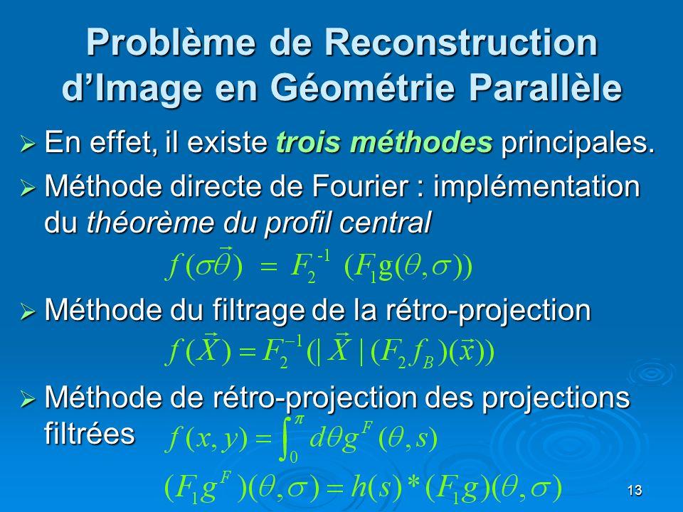 13 Problème de Reconstruction dImage en Géométrie Parallèle En effet, il existe trois méthodes principales. En effet, il existe trois méthodes princip