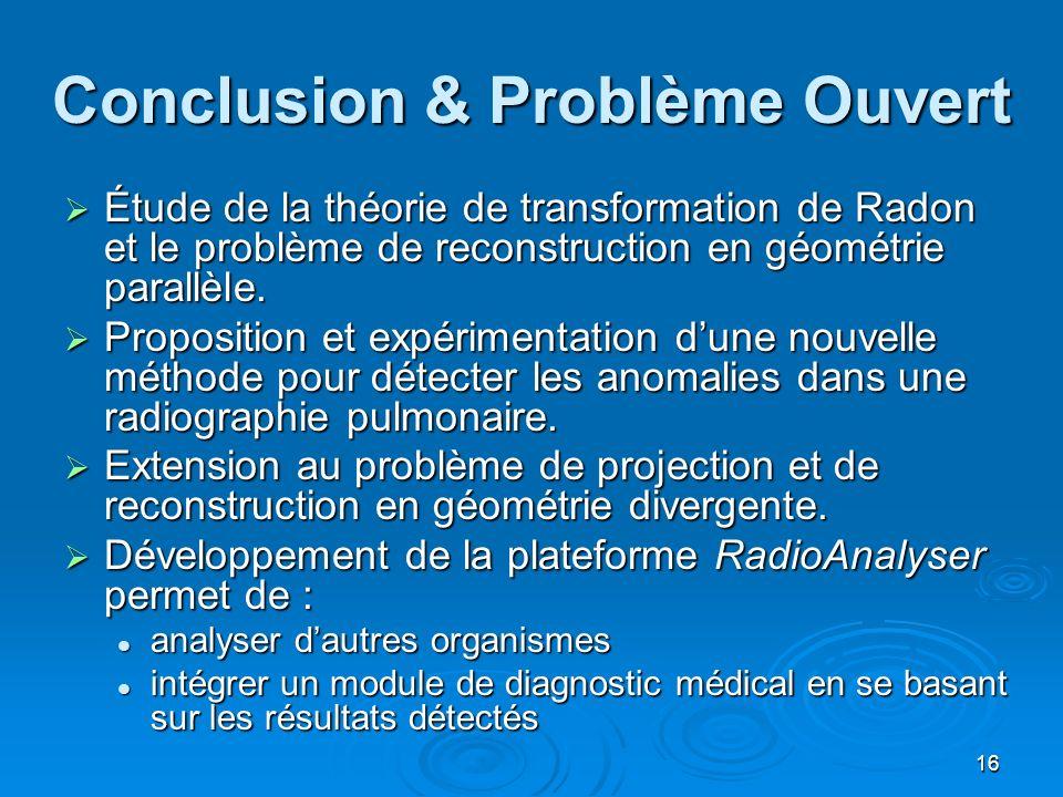 16 Conclusion & Problème Ouvert Étude de la théorie de transformation de Radon et le problème de reconstruction en géométrie parallèle. Étude de la th