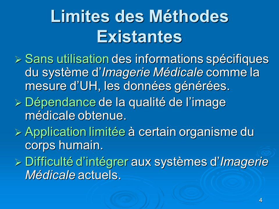 4 Limites des Méthodes Existantes Sans utilisation des informations spécifiques du système dImagerie Médicale comme la mesure dUH, les données générée