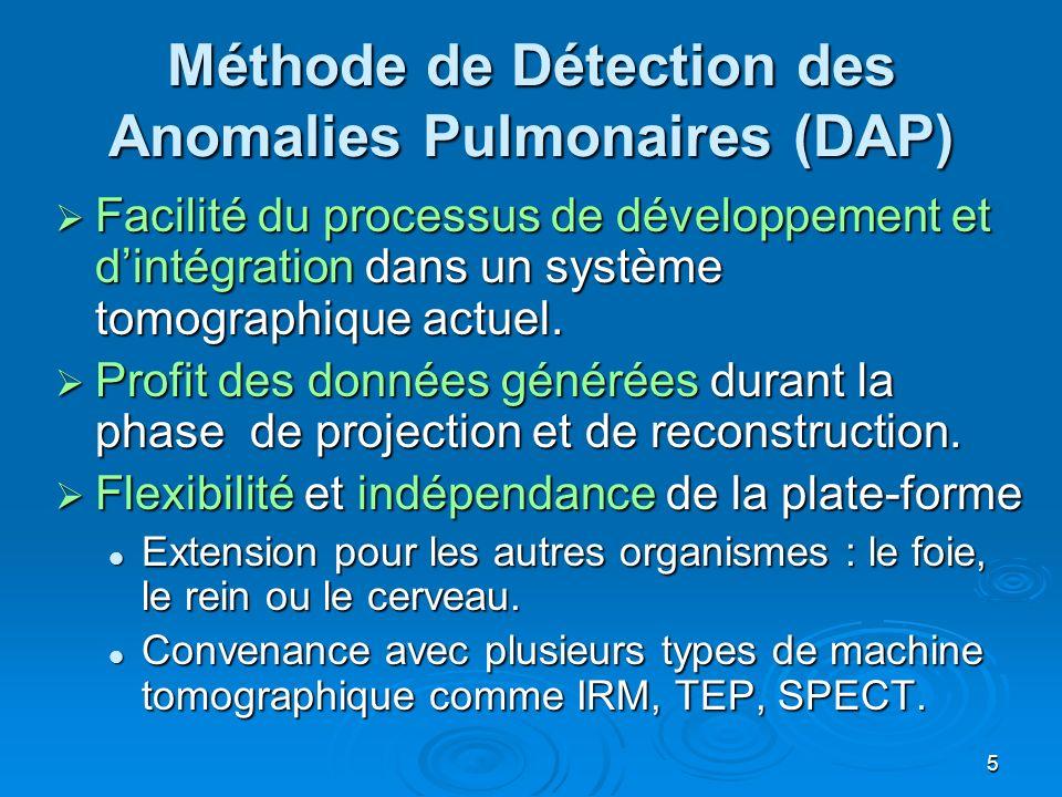5 Méthode de Détection des Anomalies Pulmonaires (DAP) Facilité du processus de développement et dintégration dans un système tomographique actuel. Fa