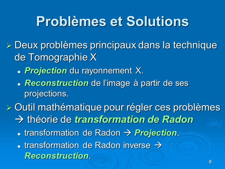 8 Problèmes et Solutions Deux problèmes principaux dans la technique de Tomographie X Deux problèmes principaux dans la technique de Tomographie X Pro