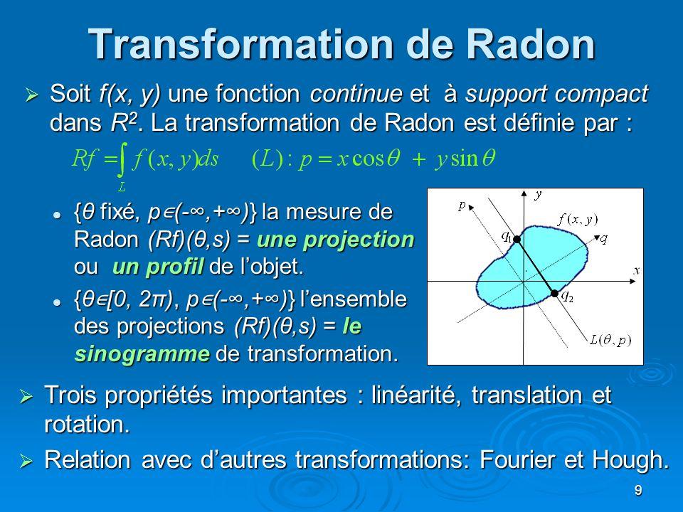 9 Transformation de Radon Soit f(x, y) une fonction continue et à support compact dans R 2. La transformation de Radon est définie par : Soit f(x, y)