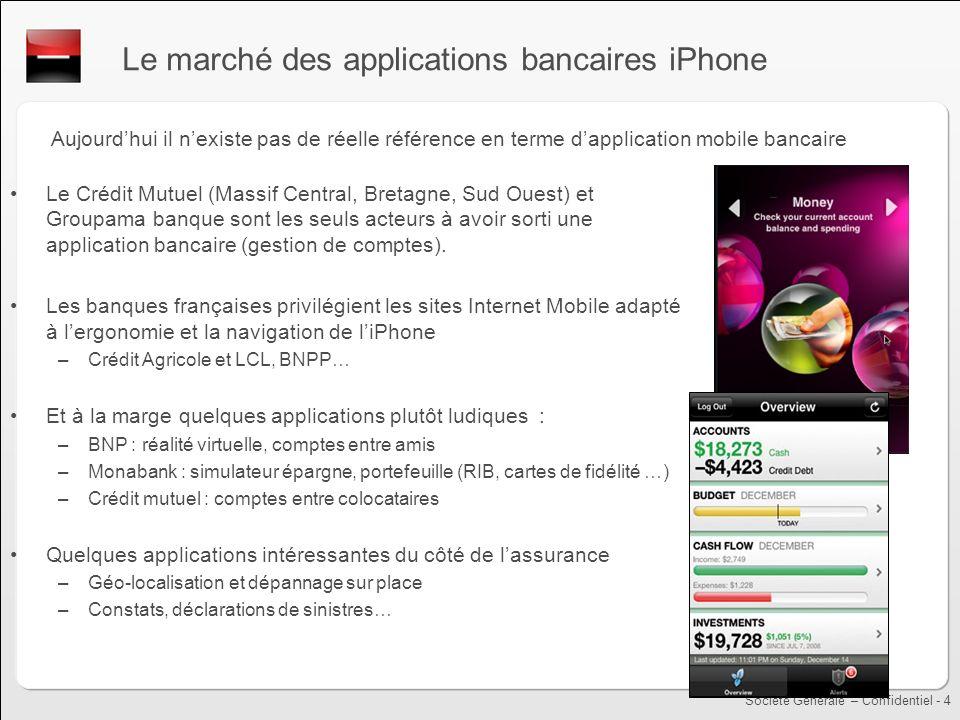 Société Générale – Confidentiel - 4 Le marché des applications bancaires iPhone Aujourdhui il nexiste pas de réelle référence en terme dapplication mo