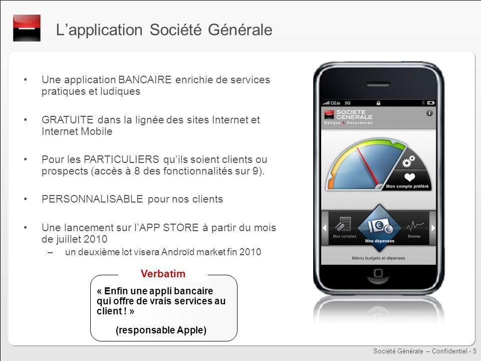 Société Générale – Confidentiel - 5 Lapplication Société Générale Une application BANCAIRE enrichie de services pratiques et ludiques GRATUITE dans la