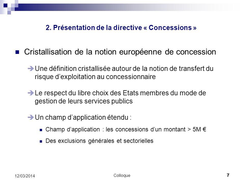 Colloque7 12/03/2014 Cristallisation de la notion européenne de concession Une définition cristallisée autour de la notion de transfert du risque dexp