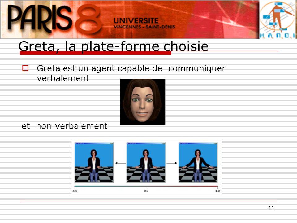 11 Greta, la plate-forme choisie Greta est un agent capable de communiquer verbalement et non-verbalement