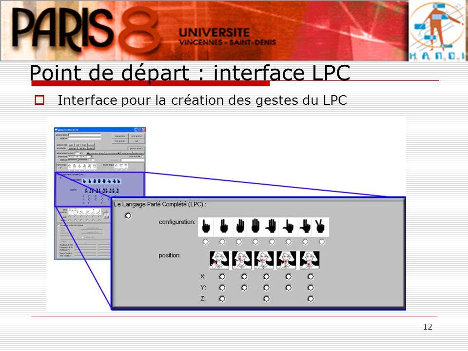 12 Point de départ : interface LPC Interface pour la création des gestes du LPC