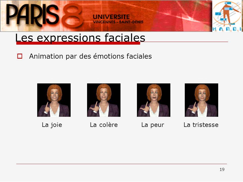 19 Les expressions faciales Animation par des émotions faciales La joie La colère La peur La tristesse