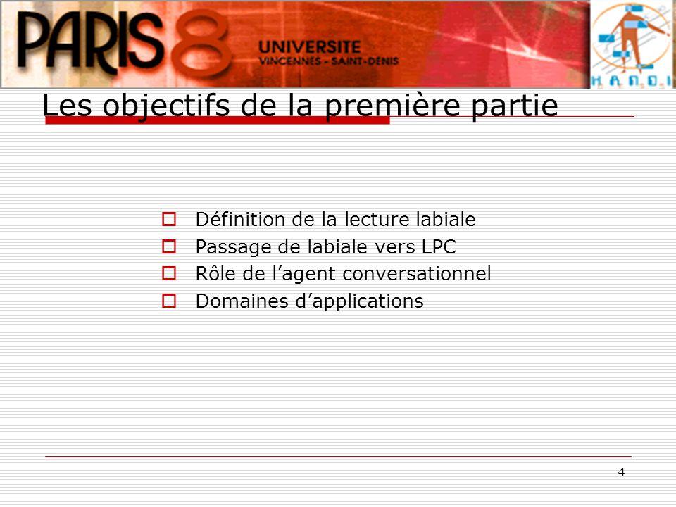 4 Les objectifs de la première partie Définition de la lecture labiale Passage de labiale vers LPC Rôle de lagent conversationnel Domaines dapplicatio