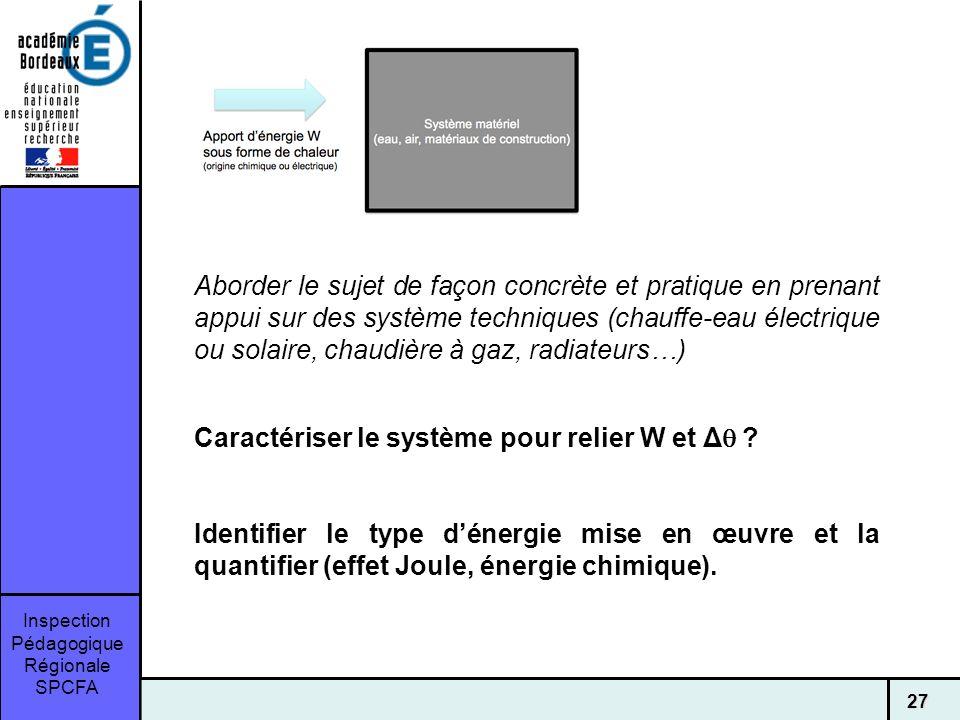 Inspection Pédagogique Régionale SPCFA 27 Aborder le sujet de façon concrète et pratique en prenant appui sur des système techniques (chauffe-eau électrique ou solaire, chaudière à gaz, radiateurs…) Caractériser le système pour relier W et Δ .