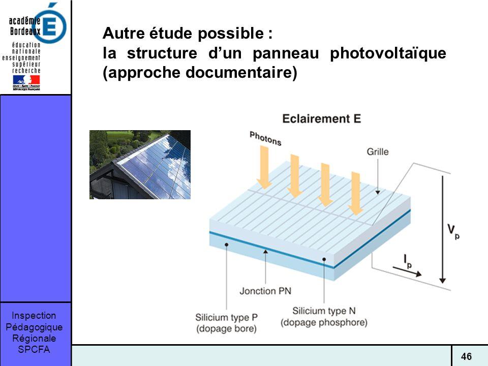 Inspection Pédagogique Régionale SPCFA 46 Autre étude possible : la structure dun panneau photovoltaïque (approche documentaire)