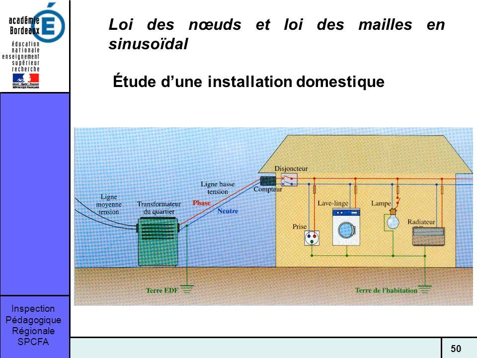 Inspection Pédagogique Régionale SPCFA 50 Loi des nœuds et loi des mailles en sinusoïdal Étude dune installation domestique