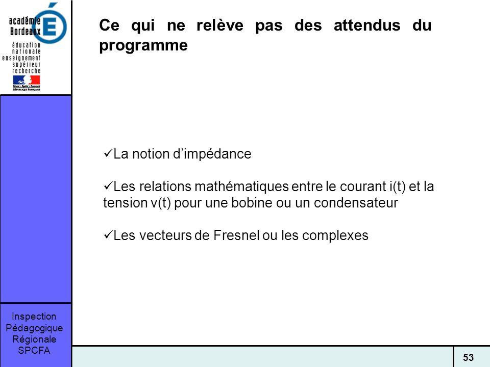 Inspection Pédagogique Régionale SPCFA 53 Ce qui ne relève pas des attendus du programme La notion dimpédance Les relations mathématiques entre le courant i(t) et la tension v(t) pour une bobine ou un condensateur Les vecteurs de Fresnel ou les complexes