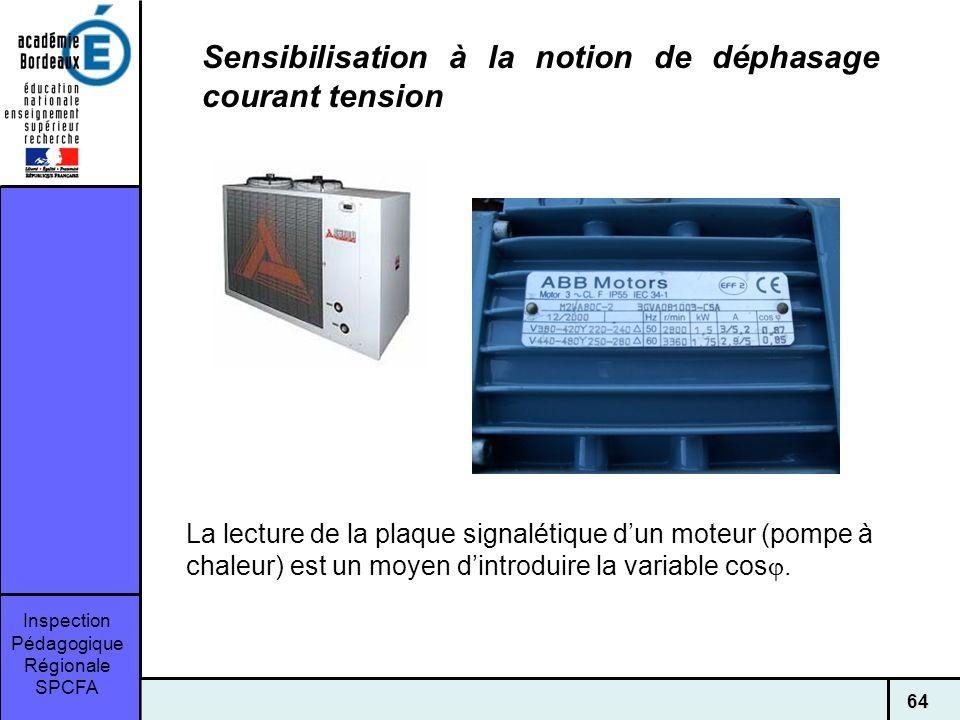Inspection Pédagogique Régionale SPCFA 64 Sensibilisation à la notion de déphasage courant tension La lecture de la plaque signalétique dun moteur (pompe à chaleur) est un moyen dintroduire la variable cos.