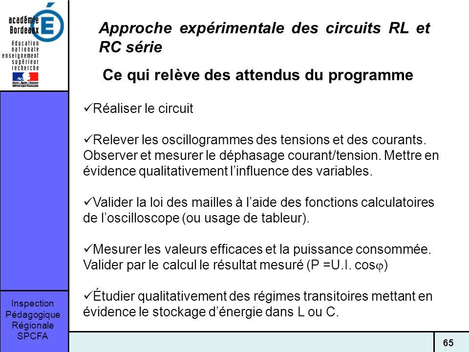 Inspection Pédagogique Régionale SPCFA 65 Approche expérimentale des circuits RL et RC série Ce qui relève des attendus du programme Réaliser le circuit Relever les oscillogrammes des tensions et des courants.