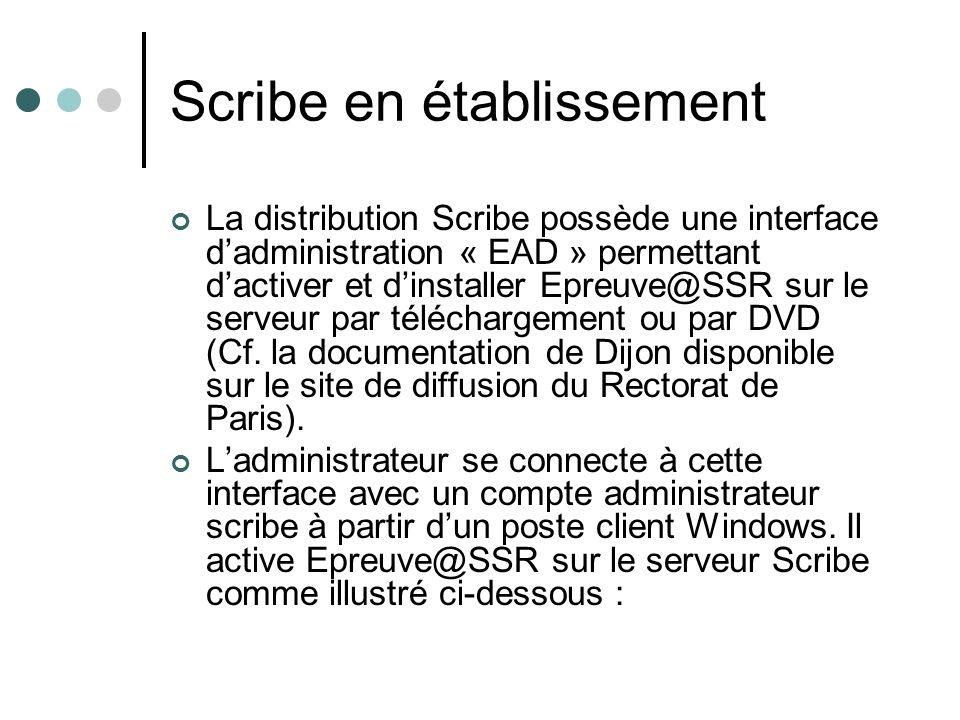 Scribe en établissement La distribution Scribe possède une interface dadministration « EAD » permettant dactiver et dinstaller Epreuve@SSR sur le serveur par téléchargement ou par DVD (Cf.