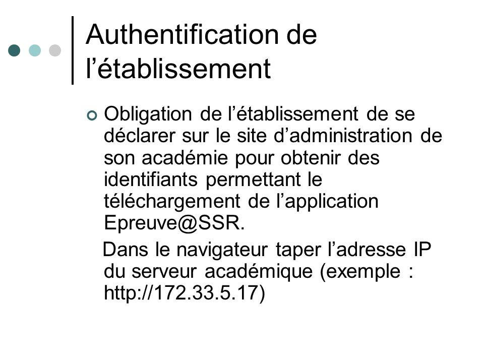 Authentification de létablissement Obligation de létablissement de se déclarer sur le site dadministration de son académie pour obtenir des identifiants permettant le téléchargement de lapplication Epreuve@SSR.