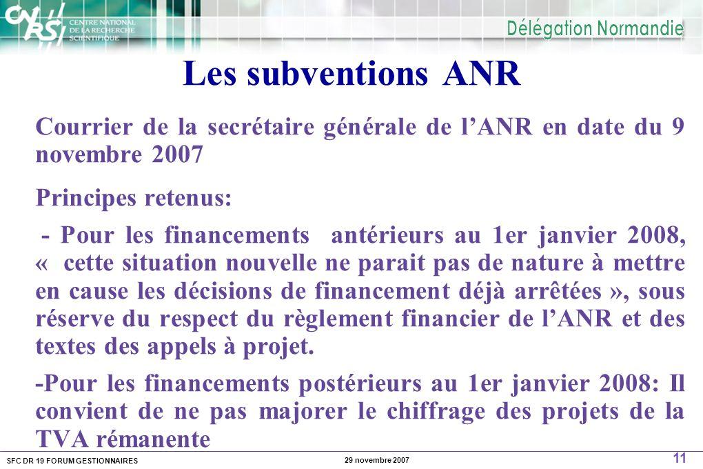 SFC DR 19 FORUM GESTIONNAIRES 11 29 novembre 2007 Les subventions ANR Courrier de la secrétaire générale de lANR en date du 9 novembre 2007 Principes