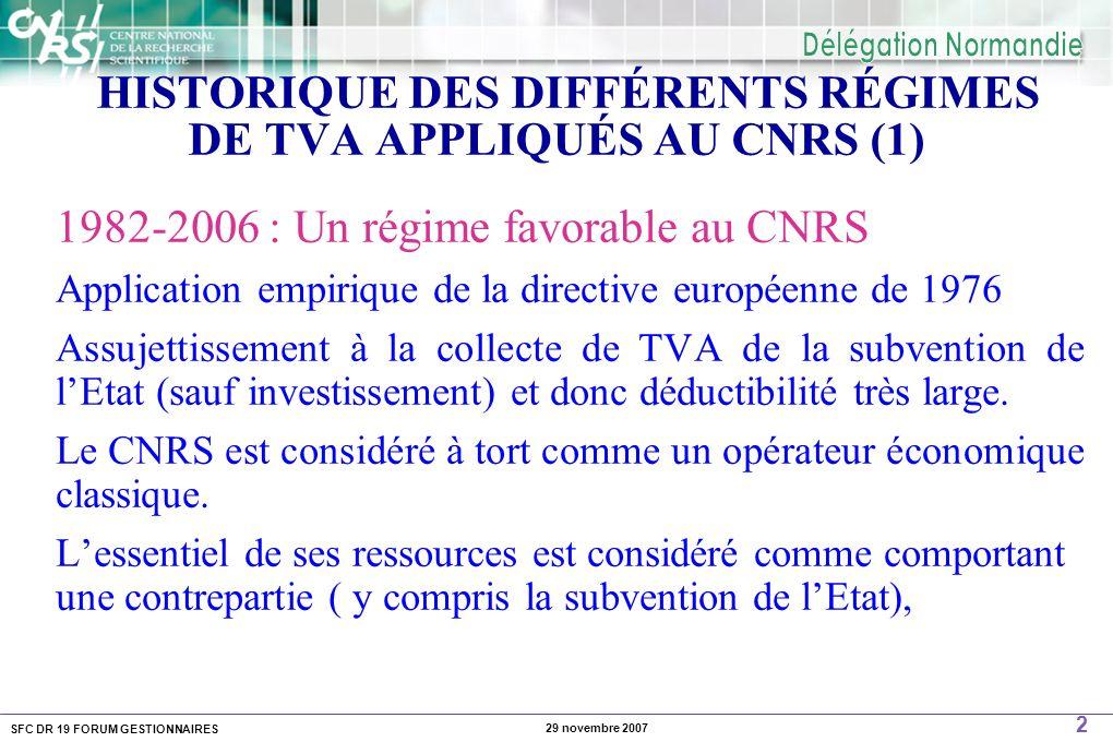 SFC DR 19 FORUM GESTIONNAIRES 2 29 novembre 2007 HISTORIQUE DES DIFFÉRENTS RÉGIMES DE TVA APPLIQUÉS AU CNRS (1) 1982-2006 : Un régime favorable au CNR