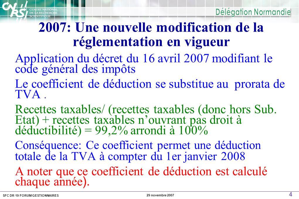 SFC DR 19 FORUM GESTIONNAIRES 4 29 novembre 2007 2007: Une nouvelle modification de la réglementation en vigueur Application du décret du 16 avril 2007 modifiant le code général des impôts Le coefficient de déduction se substitue au prorata de TVA.