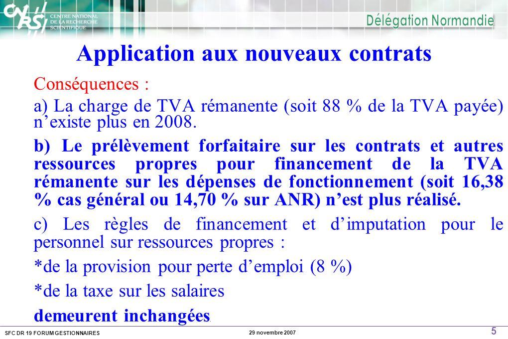 SFC DR 19 FORUM GESTIONNAIRES 5 29 novembre 2007 Application aux nouveaux contrats Conséquences : a) La charge de TVA rémanente (soit 88 % de la TVA p
