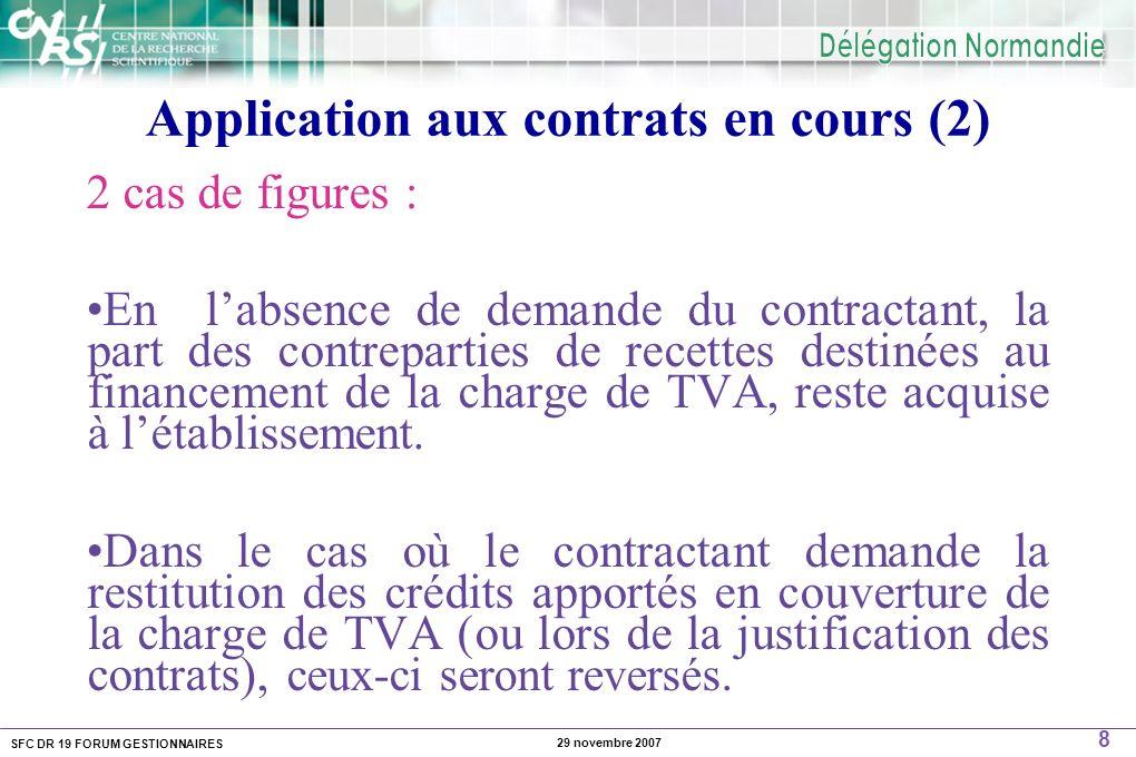 SFC DR 19 FORUM GESTIONNAIRES 8 29 novembre 2007 Application aux contrats en cours (2) 2 cas de figures : En labsence de demande du contractant, la part des contreparties de recettes destinées au financement de la charge de TVA, reste acquise à létablissement.
