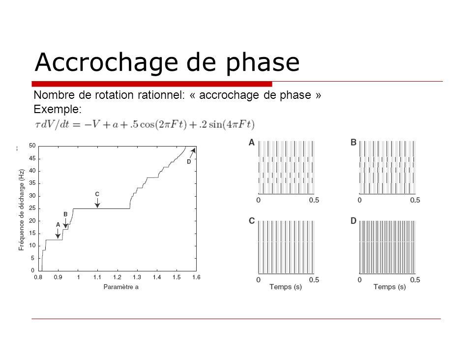 Accrochage de phase Nombre de rotation rationnel: « accrochage de phase » Exemple: