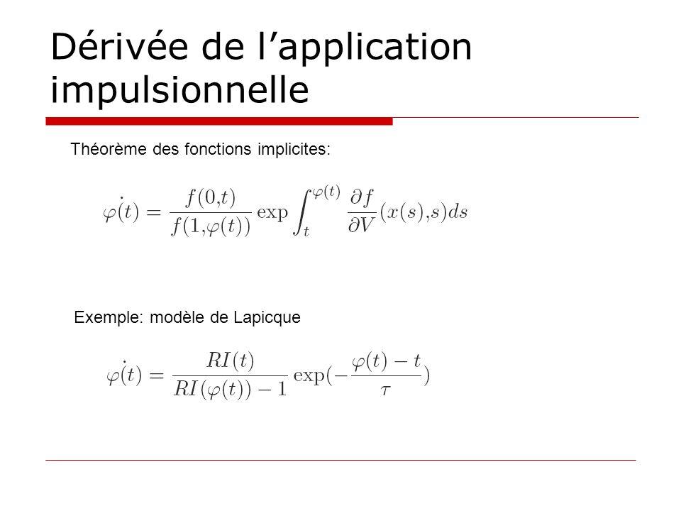Dérivée de lapplication impulsionnelle Théorème des fonctions implicites: Exemple: modèle de Lapicque