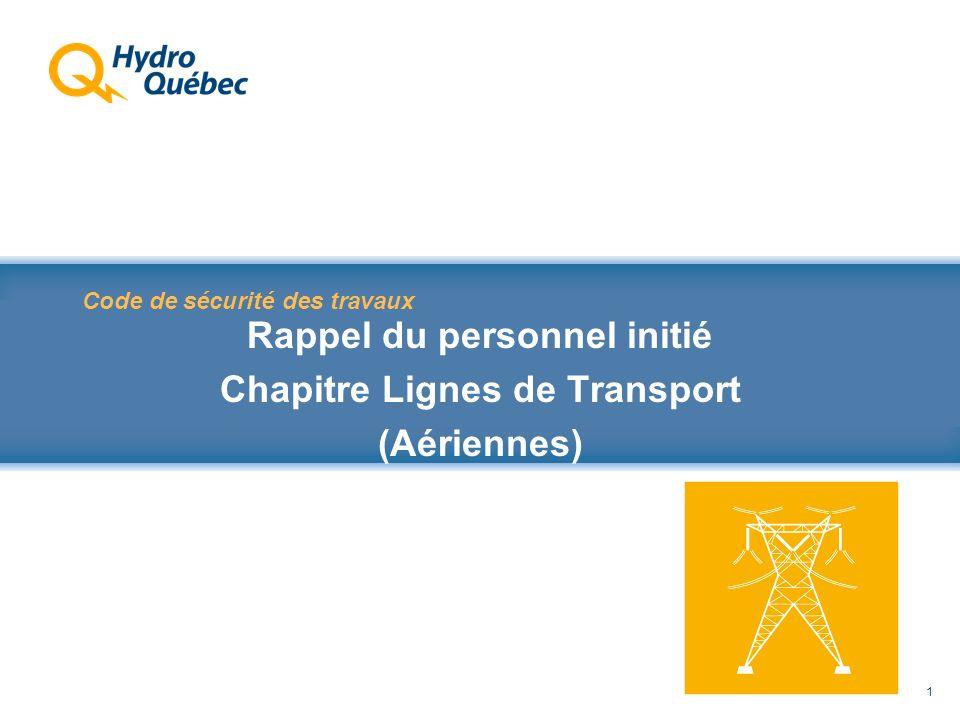 Rappel au Code de sécurité des travaux 1 Code de sécurité des travaux Rappel du personnel initié Chapitre Lignes de Transport (Aériennes)