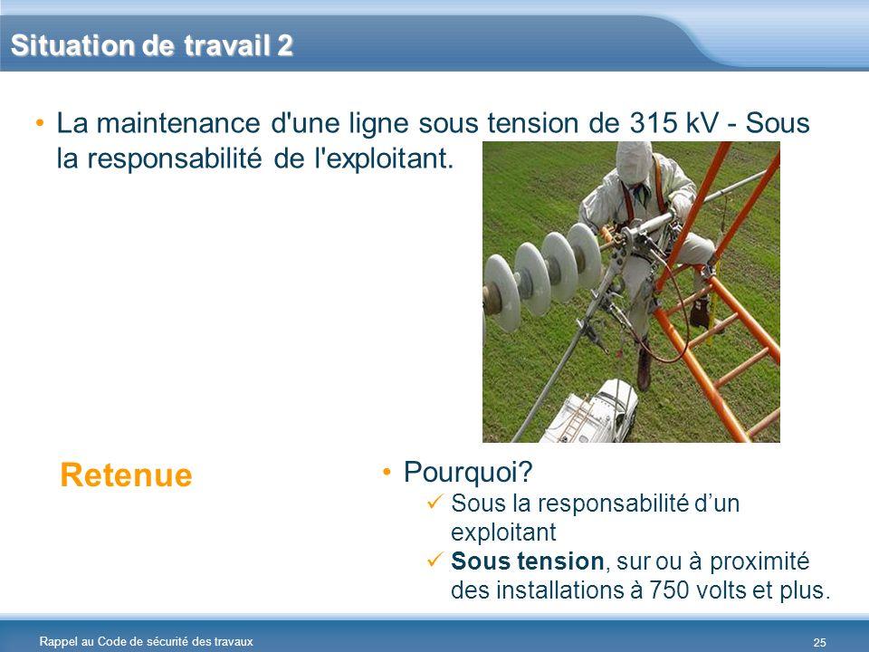 Rappel au Code de sécurité des travaux Situation de travail 2 La maintenance d'une ligne sous tension de 315 kV - Sous la responsabilité de l'exploita