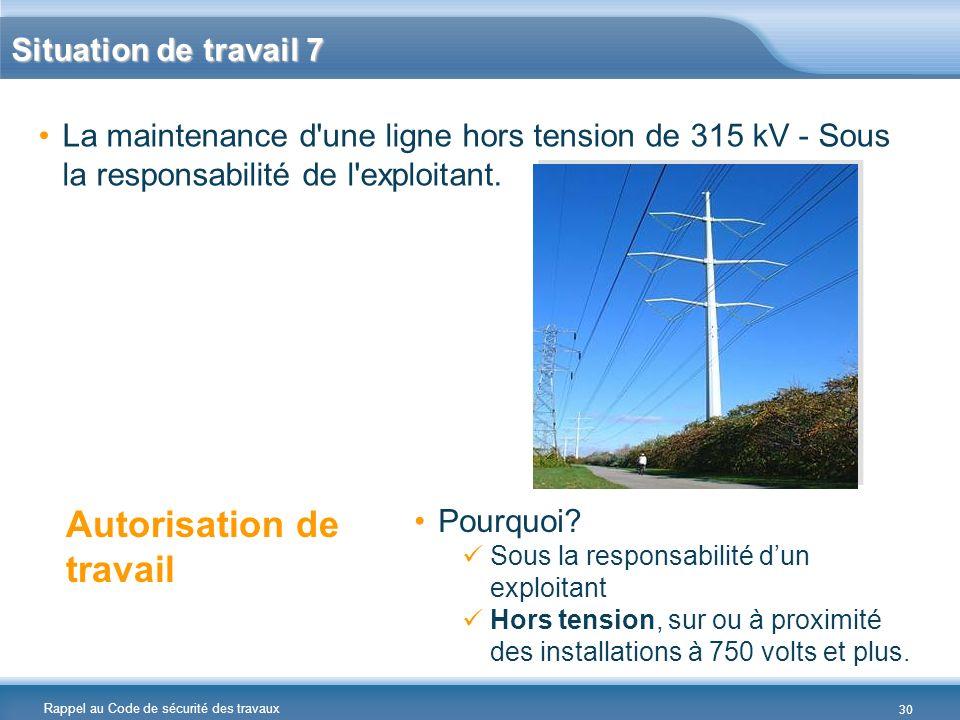 Rappel au Code de sécurité des travaux Situation de travail 7 La maintenance d'une ligne hors tension de 315 kV - Sous la responsabilité de l'exploita