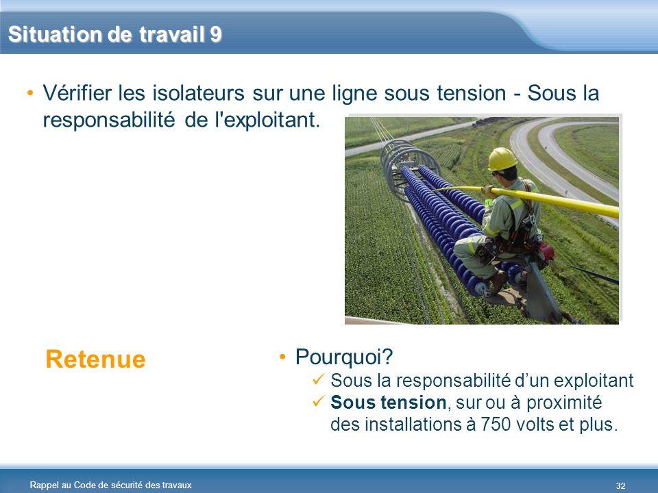 Rappel au Code de sécurité des travaux Situation de travail 9 Vérifier les isolateurs sur une ligne sous tension - Sous la responsabilité de l'exploit